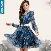 Casual Dresses other other Women Clothing Dresses New Fashion 2014 Autumn -Summer Casual Dress Print Dress Chiffon Dress Sale Items MLYR 8306