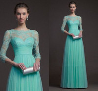 long sleeve lace evening dresses green 2014 high neck sheer ...