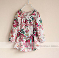 Wholesale New Style Fashion Europe France Girl Clothes Baby Girls Shirt Dress Flower Paint Waistband Spring Fall Long Sleeve Floral Tshirt C1610