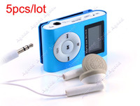 Wholesale 5pcs LCD Screen Metal Mini Clip on MP3 Player with Micro TF SD card Slot with Cable Earphone