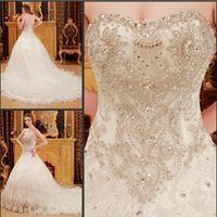 rhinestone applique - 2014 Modest Custom Royal White A line Noble Elegant Rhinestone Sweetheart Wedding Dresses Monarch Train Zipper Back Beading Lace Bridal Gown