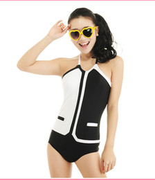 Wholesale 2014 Runway Style Black White Halter Padded Bust Bikini Monokini Swimwear XS S M S01