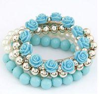 bead bracelet stretch - Fashion Mix Flower beads stretch bracelet temperament fashion bangle bead bracelet Pearl Multilayer Bracelet Bohemia style bracelet Colour