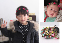 Headbands Mix Colors Bohemian Bohemian Baby Flower Headband Child Girl Kids Floral Garland Hair Band Headwear Hair Accessories for Children Wholesale H131