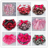 dot ribbon - 2014 Styles Toddle Children PP Pants Baby Zebra Leopard Star Bloomers Dots Chevron Girls Satin Ruffled Shorts with Ribbon Bow Kids D2438