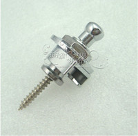 Wholesale 10 Guitar Bass Strap Lock Skidproof StrapLock locking pegs Pins Guitar Strap buttons Pins metal end Chrome D