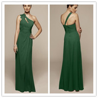 Reference Images Ruffle Sleeveless QM-2014 Best Selling Cheap Lime Green Bridesmaid Dresses One Shoulder Appliues Empire Waist A Line Long Chiffon Formal Maxi Gowns