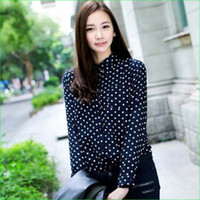 Lapel Neck Cap Sleeve Long Sleeve Women Long Sleeve Dotted Chiffon Blouse 2014 White Blue Black Summer Office Lady Wear Women Clothes size S M L XL XXL 14032402