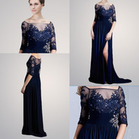 Reference Images High Neck Chiffon 2014 Vintage Sheer Crew Neckline 3 4 Long Sleeve Applique Beaded Front Split Chiffon Mother Of The Bride Dresses M2209
