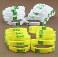 Charm Bracelets american football brazil - Retail Brazil World Cup Football Sports Souvenir Bracelet Silicone Silicon Gel wristbands Wrist Band Bracelets