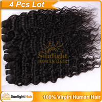 Wholesale 4pcs Brazilian Virgin Hair Wave Wavy Kinky Curly quot quot Natural Color B Remy Human Hair Extensions