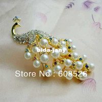 Wholesale piece Newest Charming Crystal rhinestone Peacock Pearl Brooch Jewelry Gifts Decorations Pin Brooch item BH7510