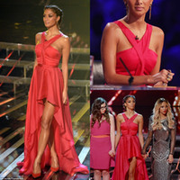 Wholesale Nicole Scherzinger Red Halter prom dresses Hi Lo On The X Factor Celebrity Dresses Red Carpet Summer chiffon Evening Gowns BO3713