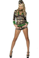 Wholesale 2014 Hot Sale Sexy lingerie Cosplay Party Nightclub Camouflage Soldiers Game Clothing Hollow Costumes Polyester Halloween Skirts HX