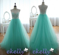 mint green long prom dresses with white lace 2014 Jewel illu...