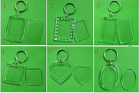 Wholesale 2014 Blank Acrylic Keychains Insert Photo plastic Keyrings Square Key Rectangle heart circular accessories