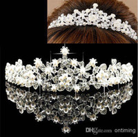 Wholesale LK Extinctive Royal Glamour Bridal Tiaras Sparkling Crystals Princess Pearl Rhinestone Crown Headband Hair Accessories Party Wedding Tiara