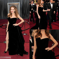 black strapless celebrity dresses 2014 A line front slit flo...