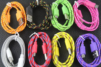 Wholesale USB Cable for Sumsung HTC Fabric Braided Wire Data Sync Cloth Woven M ft Colorful Cord Woven Cable for Samsung Galaxy S5 S3 S4 Note