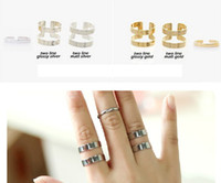 Cheap Korea Style Silver Gold Plated Simple Rings Sets 2Colors 12Sets lot