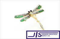 Fashion beautiful green eye - High Quality Black Crystal Eyes with K Gold plated Green Wings Beautiful Dragonfly Pin Brooch Pin Badge