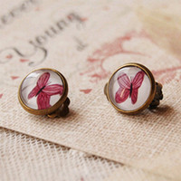 Wholesale Bohemian Purple Butterfly Clip Earrings Without Piercing Vintage Bronzed Earrings for Girls rj07