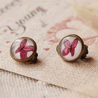 clip on earrings - Bohemian Purple Butterfly Clip Earrings Without Piercing Vintage Bronzed Earrings for Girls rj07