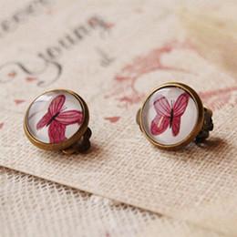 Bohemian Purple Butterfly Clip Earrings Without Piercing Vintage Bronzed Earrings for Girls rj07