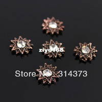 Wholesale New Vintage Flat Back Copper Tone Sun Shine Clear Rhinestone MM D Salon Acrylic Nail Art Tips Decoration Adornment