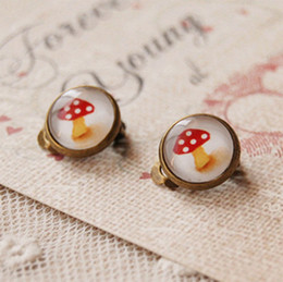 Kawaii Red Mushroom Clip Earrings Without Piercing for Children Christmas Presents rj09