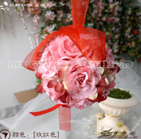 Wholesale The Simulation Flower Decoration Flower Wreath Of Rattan Cane Dream Bamboo Rose Red Hand Ball lt bjh lt lt color