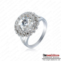 With Side Stones Wedding Fashion LZESHINE Brand Dazzling High Quality Ring Real Platinum Plated Costume Jewelry Fashion Women Rings With Stones ITL-RI0097