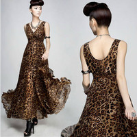 Wholesale New Arrival Ultralarge V neck Leopard Print Chiffon Dress Racerback Double Layer Ruffle Floor length Dress