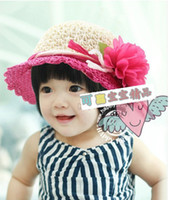 flower paper straws - Handmade paper straw hat Children s hats han edition Spot girls hat The summer sun Flowers topi
