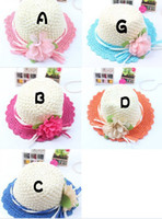 Wholesale Handmade paper straw hat Children s hats han edition Spot girls hat The summer sun Flowers topi china post send