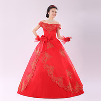 Cheap Fairview VS 2014 before the word shoulder wedding dress new red car bone lace bright gold satin bridal gown