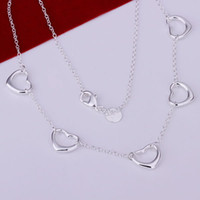 Wholesale N121 Promotion silver necklace silver fashion jewelry Five Small Heart Necklace