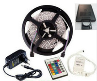 Wholesale RGB LED Strip Light Flexible M Reel SMD Non Waterproof DC V IR Remote Controller A Power Supply M Strips LEDs Set