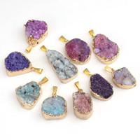 Wholesale Natual Geode agate Crystal Drusy Pendants Fashion Jewelry Pendants Irregular