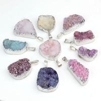 drusy jewelry - Silver Plated Natual Geode agate Crystal Drusy Pendants Fashion Jewelry Pendants Irregular
