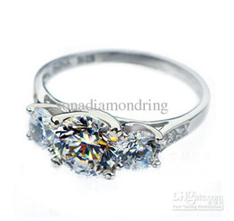 Wholesale - 1 CT 14K white gold plated simulate diamond ring for women wedding band,3 stones mount engagement ring,promise ring for girl