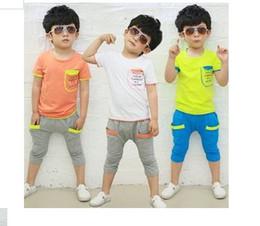 Wholesale 2014 boys suits letters sleeve pocket stitching summer models cotton leisure suit children clothing girls baby kids set