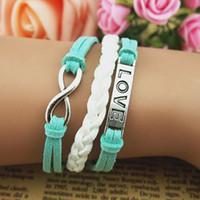 Свободная перевозка груза! Браслет-Бесконечность Любовь Браслет -mixed цвета, голубой и серый комбинированный подарок браслет