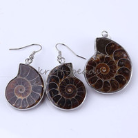 Wholesale Set Ladies Classical Natural Druzy Ammonite stone Pendulum stone Beads Column Pendant Dangle Earring