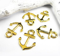 Wholesale New Gold plated Mini Anchor Charm connectors x15mm Anchor bracelet connector pendant beads Vintage DIY Jewelry Findings Metal