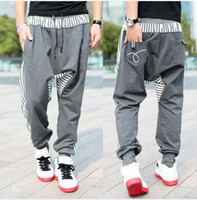 Wholesale Spring new men s casual trousers Fashion narrow feet cotton drop crotch pants mens hip hop harem sweatpants