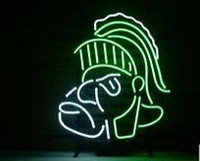 beer state - MICHIGAN STATE SPARTANS REAL GLASS NEON LIGHT BEER PUB SIGN