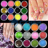 Nail Art 3D Decoration Nail Art Rhinestones Nail Glitter 24 Colors Metal Shiny Decoration Glitter Powder Nail Art Tool Kit Acrylic UV Powder Dust Stamp Free Shipping