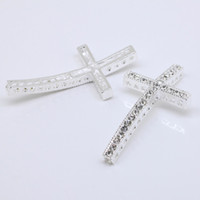 Silver Plated sideways cross bracelet - 10pcs High quality Silver plated with Clear Cyrstal Rhinestones sideways crosses Bracelet Connector Charms mm x mm
