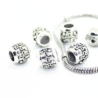 Wholesale 25pcs of mm Crosses Drum Charms Tibet Silver European Spacer Charm Loose Beads Fits Bracelet TSB4041